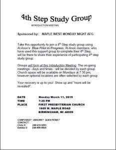4th Step Study Group beginning March 2019 @ FIRST PRESBYTERIAN CHURCH