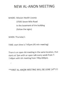New Al-Anon Meeting Starting @ Mission Health Livonia | Livonia | Michigan | United States