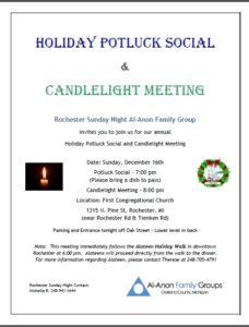 Holiday Potluck Social and Candlelight Meeting @ First Congregational Church