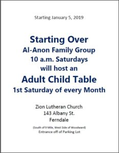 New Adult Child Table 1st Saturdays @ Zion Lutheran Church
