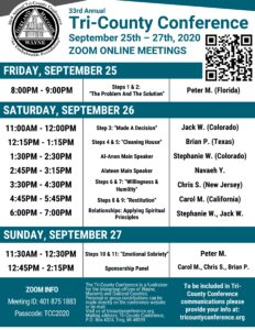 Tri County Conference Al-Anon Meeting Zoom Schedule @ Zoom Only